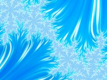 Abstract Aqua Christmas Tree Branch with Blue White Snowflakes. Royalty Free Stock Photos