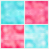 Abstract aquamarine and pink geometric backgrounds Stock Image