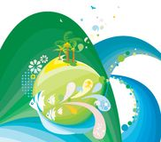 Abstract aquatic background. An abstract blue and green background with artistic tropical and aquatic designs and an aquatic theme Royalty Free Stock Photos