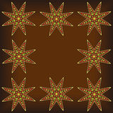 Abstract Arabic Stars Background. Ornate ethnic frame. Arabic style stars in border composition. Tribal ornament. Useful for greeting card, invitation or poster Stock Illustration