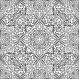 Abstract Arabic Style Black And White Ornament. Contrast background with islamic pattern. Fantasy oriental symmetric ornament for coloring page. Zentangle style Vector Illustration