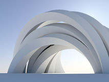 Abstract arch on blue. Illustration of a generic modern complicated arch isolated