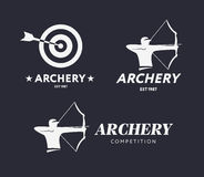 Abstract archery logo. Vector badge concept. Archer with sport bow and target with arrow. Archery competition. Stock Photo