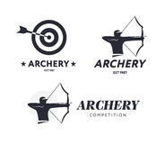Abstract archery logo. Vector badge concept. Archer with sport bow and target with arrow. Archery competition. Royalty Free Stock Photography