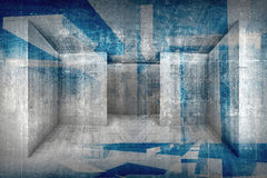 Abstract architectural background with grunge concrete interior. Abstract architectural 3d background with grunge concrete room interior and blueprint pattern Royalty Free Stock Image