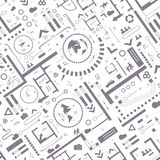 Abstract architectural background. Vector seamless pattern with architectural plan and info graphic details Vector Illustration