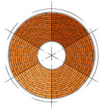 Abstract architectural brick circle symbol. Illustration Royalty Free Stock Image