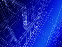 Abstract architectural construction. Abstract architectural sketch of building Royalty Free Stock Photography