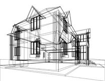 Abstract architectural construction. Abstract sketch of house. Architectural 3d illustration Stock Illustration