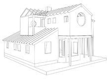 Abstract architectural 3D drawing of apartment house. Vector created of 3d.  Stock Photos