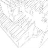 Abstract architectural 3D drawing of apartment house. Vector created of 3d. Abstract architectural 3D drawing of apartment house. Vector created of 3d Stock Photography