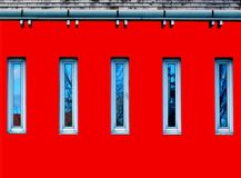 Architectural Detail Abstract in Red, Blue and Gray stock illustration