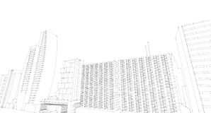 Abstract architectural drawing sketch,City Scape. Illustration Royalty Free Stock Photography