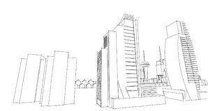 Abstract architectural drawing sketch,City Scape. Illustration Stock Image