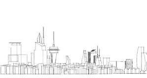 Abstract architectural drawing sketch,City Scape. Illustration Stock Photo