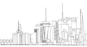 Abstract architectural drawing sketch,City Scape. Illustration Stock Images