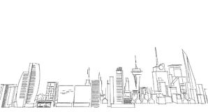 Abstract architectural drawing sketch,City Scape. Illustration Stock Photography