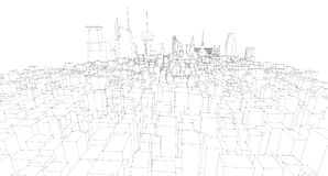 Abstract architectural drawing sketch,City Scape. Illustration Royalty Free Stock Photos