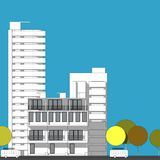Abstract architectural drawing sketch,City Scape. Illustration Royalty Free Stock Image