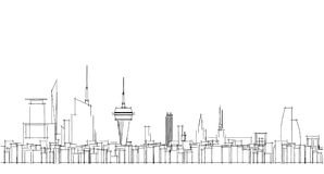 Abstract architectural drawing sketch,City Scape. Illustration Royalty Free Stock Photo