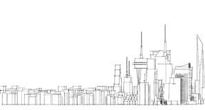 Abstract architectural drawing sketch,City Scape. Illustration Vector Illustration