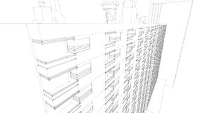 Abstract architectural drawing sketch,Illustration. Abstract 3D architectural drawing sketch,Illustration Royalty Free Stock Photography