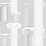 Abstract architectural pattern. Ionic columns seamless texture. Classic columns seamless background. Roman column. Illustration on white background for design Royalty Free Stock Photo