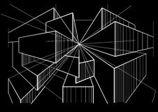 Abstract architectural sketch boxes in perspective on black background. Linear abstract architectural sketch boxes in perspective on black background Royalty Free Stock Photo