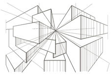 Abstract architectural sketch of boxes in perspective. Abstract linear architectural sketch of boxes in perspective Stock Images