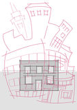 Abstract architectural sketch Royalty Free Stock Images