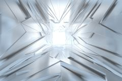 Abstract Architectural tunnel light Irregular triangle Futuristic background made of silver or platinum. Success concept. 3d illustration royalty free illustration