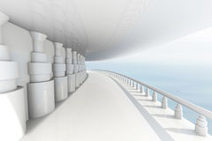 Abstract architectural view with long passage and balcony and remote ocean. 3d render vector illustration