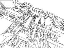 Abstract architecture. 3d abstract architecture blurry, transparent colors Stock Photo