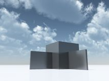 Abstract architecture. Under cloudy blue sky - 3d illustration Royalty Free Stock Image