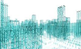 Abstract architecture. 3d abstract architecture concept.Binary Language Royalty Free Stock Photos