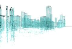 Abstract architecture. 3d abstract architecture concept.Binary Language Royalty Free Stock Image