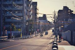 Almost empty street during the day in Tokyo royalty free stock images