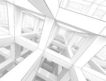 Abstract architecture background. Internal space of a modern braced construction stock illustration