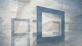 Abstract architecture background. Abstract 3d blue construction illustration on old gray paper Royalty Free Stock Photos