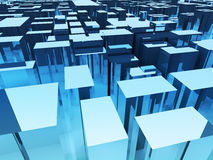 Abstract architecture background, cityscape with skyscrapers towers. Perspective view of blue surface with chrome reflective cubes Royalty Free Stock Photo
