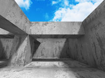 Abstract Architecture Background. Concrete Walls Empty Room With. Sky. 3d Render Illustration Stock Photography