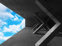 Abstract Architecture Background. Concrete Walls Empty Room With. Sky. 3d Render Illustration Stock Photos