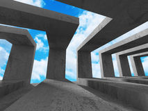 Abstract Architecture Background. Concrete Walls Empty Room With. Sky. 3d Render Illustration Royalty Free Stock Images
