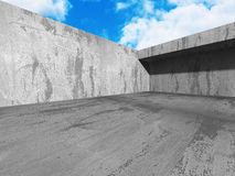 Abstract Architecture Background. Concrete Walls Empty Room With. Sky. 3d Render Illustration Royalty Free Stock Photos