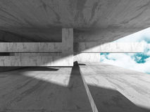 Abstract Architecture Background. Concrete Walls Room. Abstract Architecture Background. Concrete Walls Empty Room With Sky. 3d Render Illustration Royalty Free Stock Photos