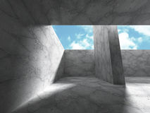 Abstract architecture background. concrete walls room with sky Stock Photo
