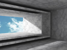 Abstract architecture background. concrete walls room with sky Royalty Free Stock Photos