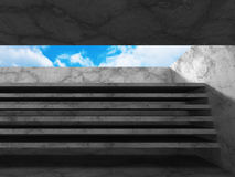 Abstract architecture background. concrete walls room with sky Royalty Free Stock Photography