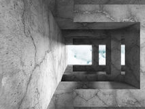 Abstract architecture background. concrete walls room with sky w Royalty Free Stock Images