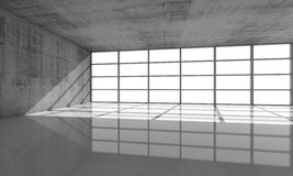 Abstract architecture background, 3d concrete interior. Abstract architecture background, empty concrete interior with bright windows in modern frames, 3d Stock Image